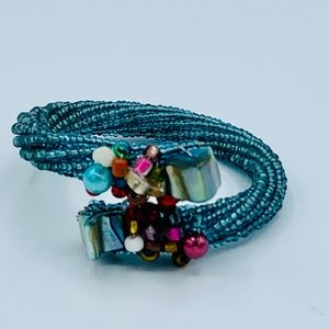 Turquoise Blue Beaded Cuff Bracelet